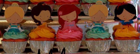 Your Cupcake is Her Dress Princess Cupcake Toppers Birthday Party Decorations Set of 12 very cute Disney Inspired