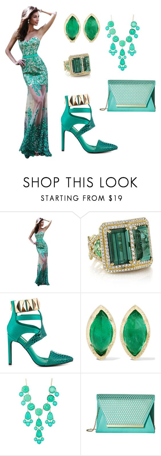 """""""Emerald queen"""" by mehrak ❤ liked on Polyvore featuring Sherri Hill, Erica Courtney, Privileged, BROOKE GREGSON, Natasha Accessories and Jessica McClintock"""