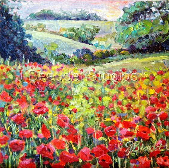 Original Oil Painting LANDSCAPE Field of Poppies Romantic Impressionist 8x8. $65.00, via Etsy.