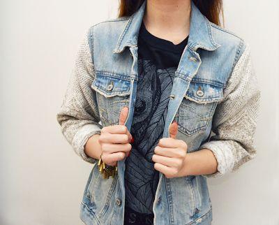 Jean jacket sweatshirt arms | Your fashionable jacket photo blog