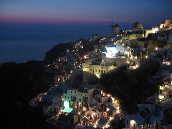 Santorini At Night Free Download Image