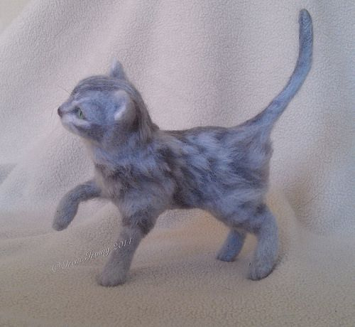 Grey tabby cat needlefelted