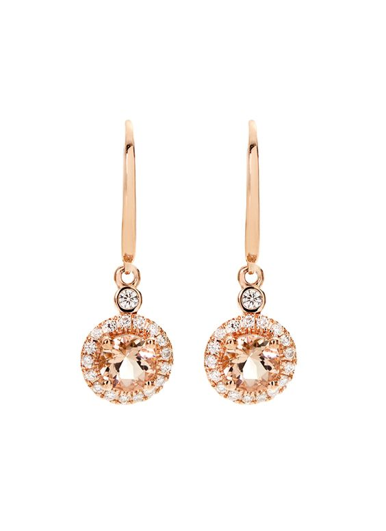 Stunning morganite stones and sparkling white diamonds give these dangling round earrings a timeless, elegant appeal. Set in 14K pink gold and detailed with a clasp back closure, these earrings feature 1.65 morganite carats plus an additional 0.45 carats of glistening white stones.