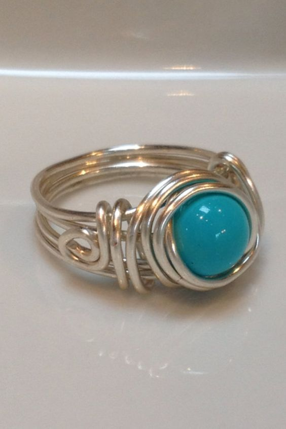 Turquoise and silver wire wrapped ring