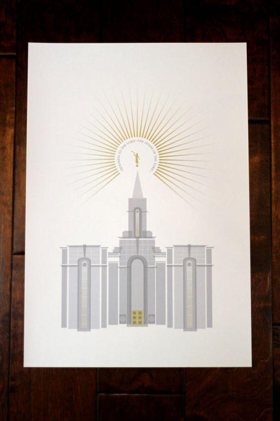 Portland Oregon LDS Temple 13x19 print by FineFettleStudio on Etsy