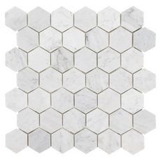Bianco Carrara Hexagon Marble Mosaic - 12in. x 12in. - 931100750 | Floor and Decor