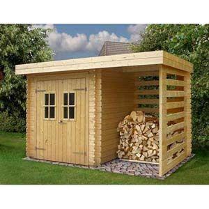 Abri de jardin avec espace de rangement pour le bois.