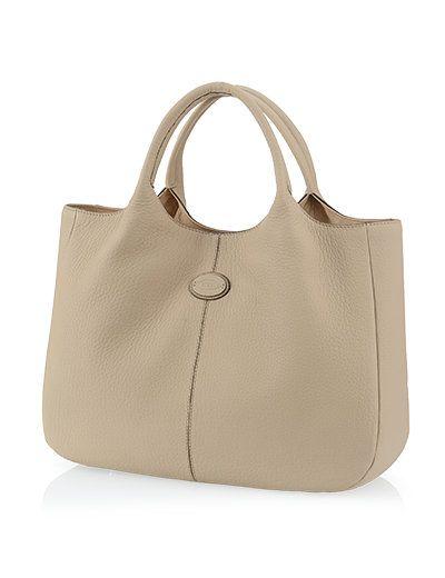 Tods Medium Shopping Bag in Leer Beige