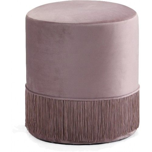 Astounding Blush Pink Fringed Round Velvet Ottoman Footstool In 2019 Theyellowbook Wood Chair Design Ideas Theyellowbookinfo