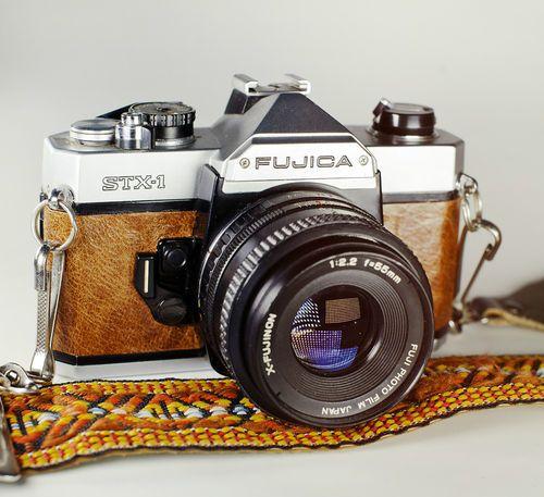 Fujica STX-1 / Rimini Rust Brown Skin / 35mm Film Vintage SLR / LightBurn Restored Camera / 55mm f2.2 Lens / £39.99