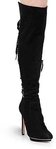 """Alexander McQueen Laced-Back Over-The-Knee Platform Boots by Alexander McQueen at Saks Fifth Avenue - A satin-edged silk velvet ribbon is laced up the back of this striking over-the-knee style in luxuriously supple suede with stud detailing.;Self-covered heel, 4.5"""" (115mm);Self-covered island platform, 0.5"""" (15mm);Compares to a 4"""" heel (100mm);Shaft, 18.5"""";Leg circumference, 12"""";Suede upper;Leather lining and sole;Padded insole;Made in Italy"""