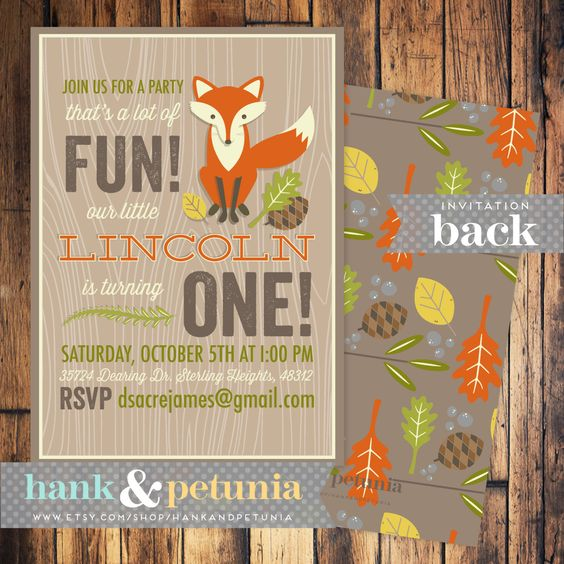 Woodland or Red Fox Birthday Party Invitation by HankandPetunia, $16.00