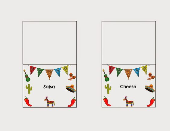 DIY Taco Bar Party - Table Tents Free Printables Taco bar party - table tent template