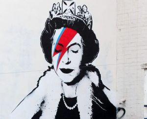 London-based street artist Banksy (not confirmed) congratulates HRM Elizabeth II to her 60th jubilee in Bowie style