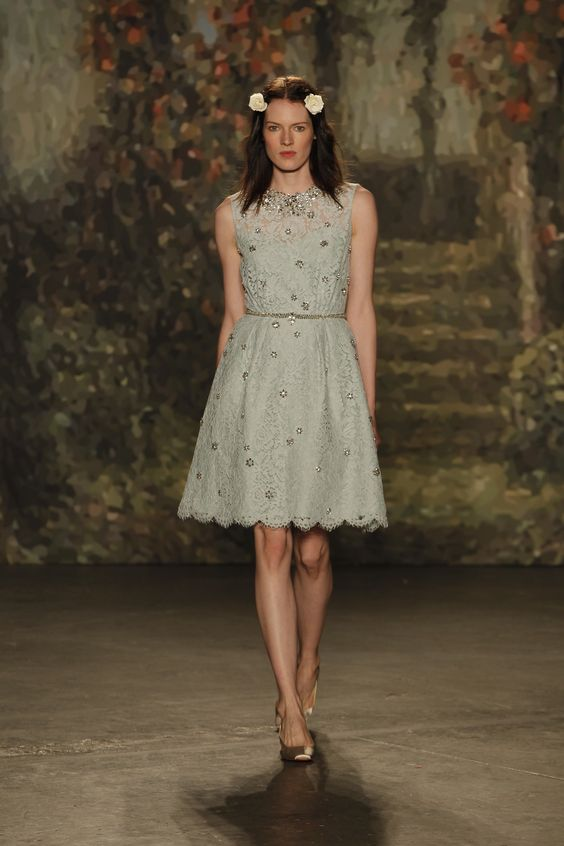 A-line #short #blue #weddingdress by #JennyPackham Spring 2016 collection.