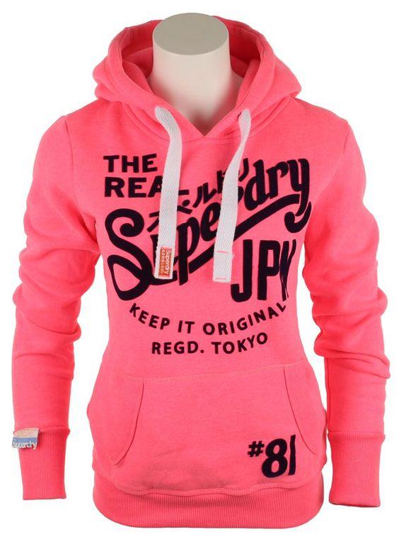 superdry clothing | superdry-womens-superdry-womens-keep-it-tin-tab-hoody-neon-pink-45492 ...