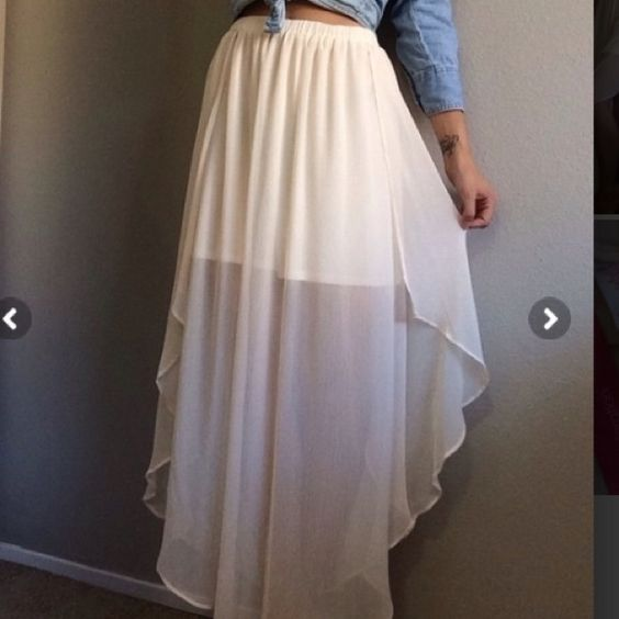 Cream colored maxi skirt | Maxi, Maxi-gonne e Gonne