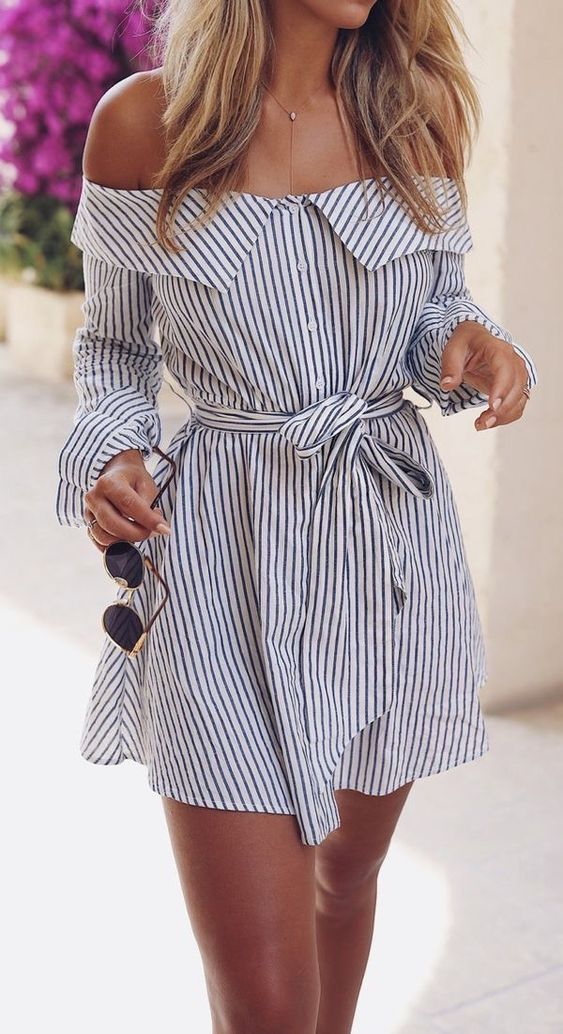 Cute blue and white striped off the shoulder mini dress.