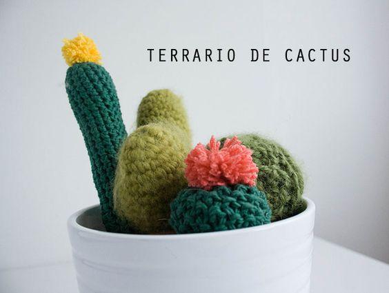 Terrario De Cactus De Ganchillo Y Punto: