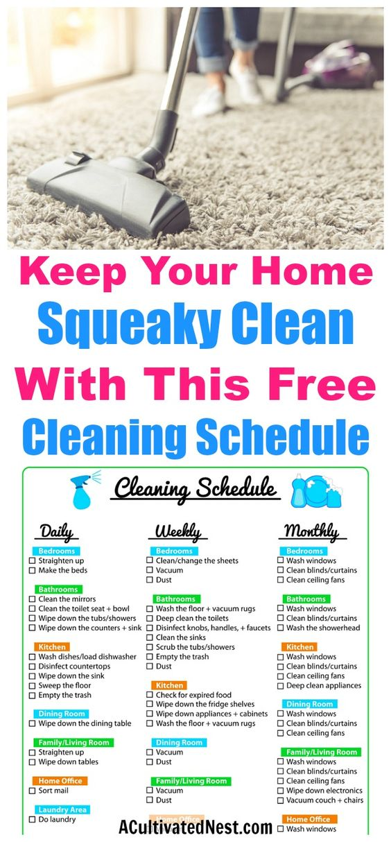 Keep Your Home Clean with a Printable Cleaning Schedule- This printable cleaning schedule is very comprehensive! It contains daily, weekly, and monthly cleaning checklists, but is designed to be easy to manage, not overwhelming. cleaning schedule! | home cleaning tips, cleaning checklist, daily cleaning, weekly cleaning, monthly cleaning, clean home #cleaningTips #homemaking #freePrintable