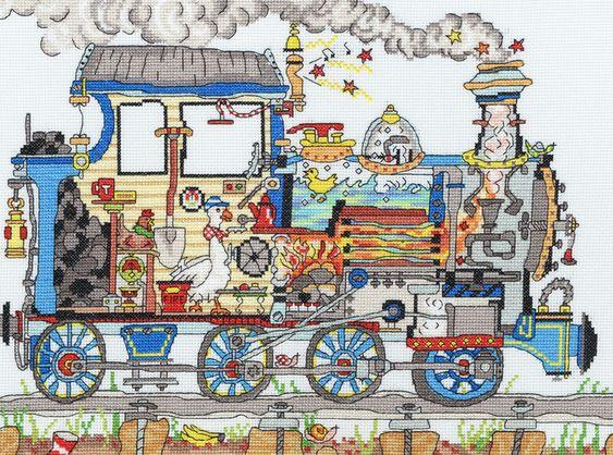 Cut Thru' Train cross-stitch
