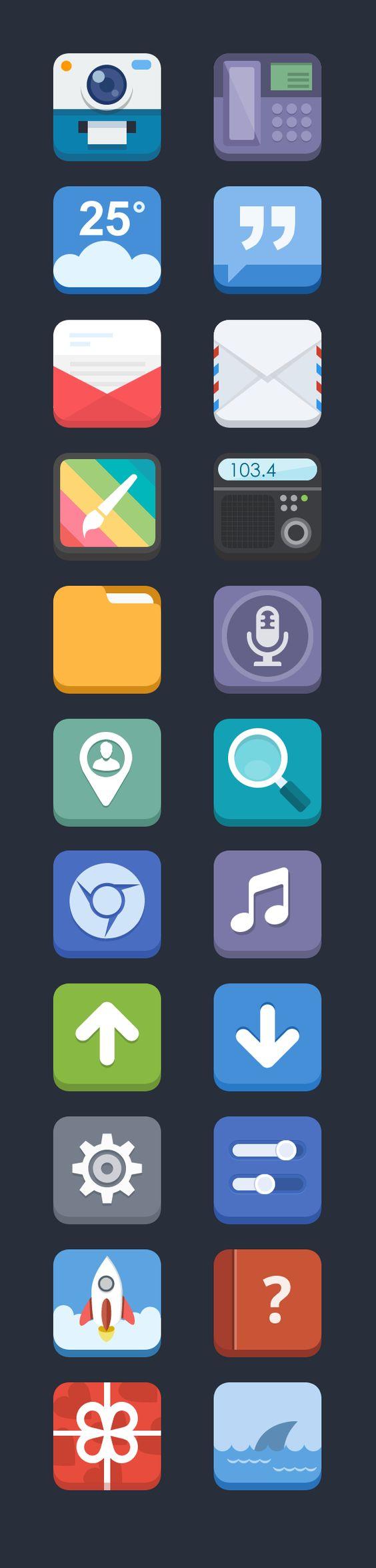 3D Flat Icons 2 by Blues design, via Behance                              …