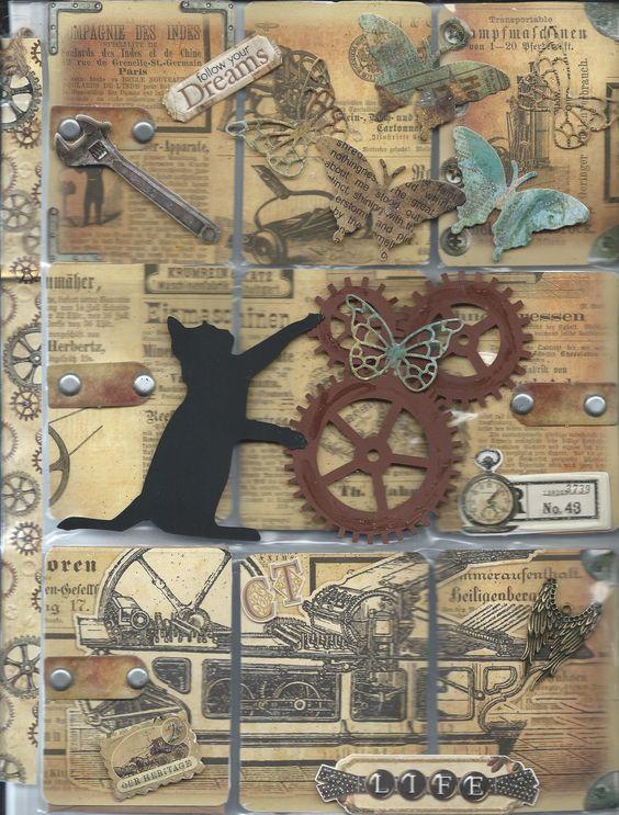 Cat Butterfly Steampunk Pocket Letter