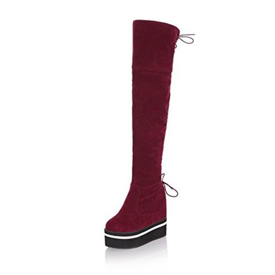 AmoonyFashion Women's Round Closed toe High-heels Frosted Solid Thigh-high Boots, Red, 31 - Brought to you by Avarsha.com