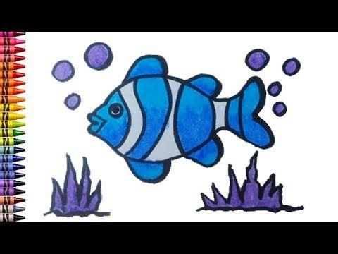 Menggambar Dan Mewarnai Anak Ikan Nemo Biru Gambar Untuk Anak Tk