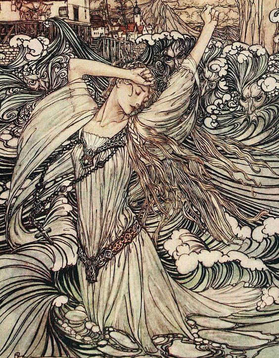 Arthur Rackham Undine 1909 Soon She Was Lost To Sight In The Danube Detail Arthur Rackham Fairytale Art Fairytale Illustration