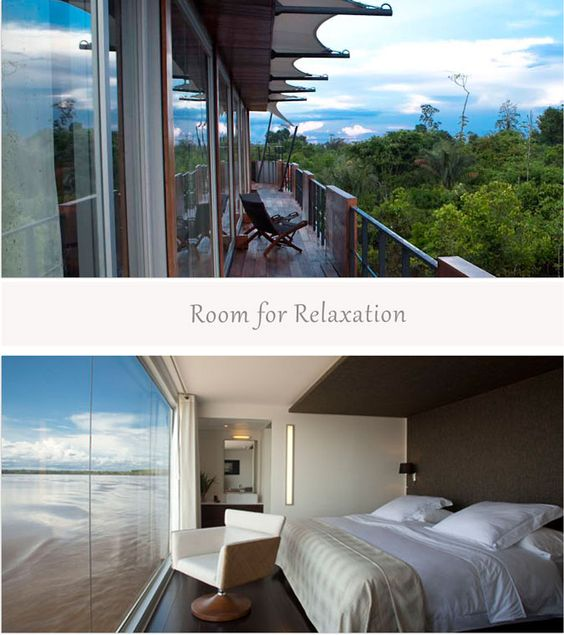 A room with a view of the Amazon River on the one & only luxury cruise in Peru!