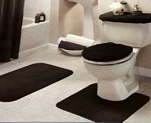Black Bathroom Rug Set 4 Pc Black Bathroom Rug Bathroom Rug Sets Black Bathroom Rug Set
