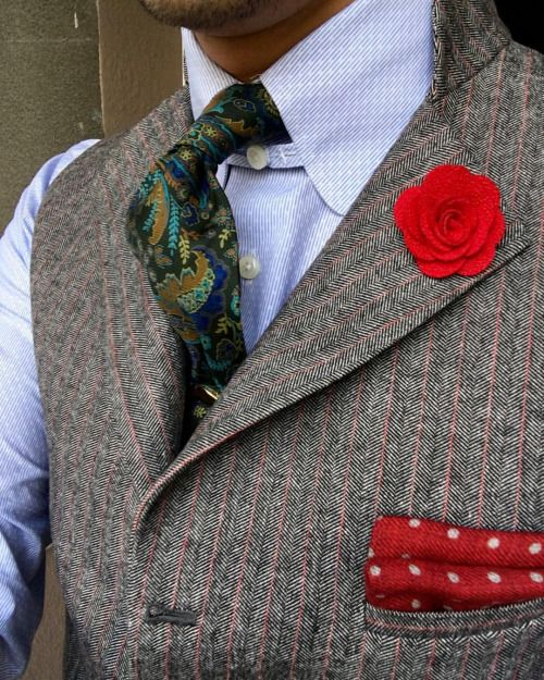 Carnation and red pocket square for grey: