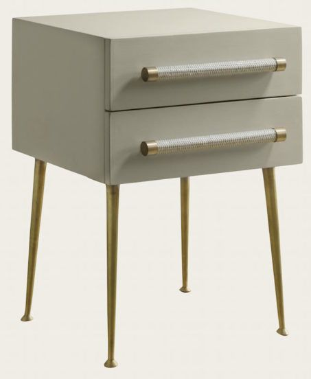 Mid039a 11a Bedside Table Two Drawer Wicker Handle Brass Trim