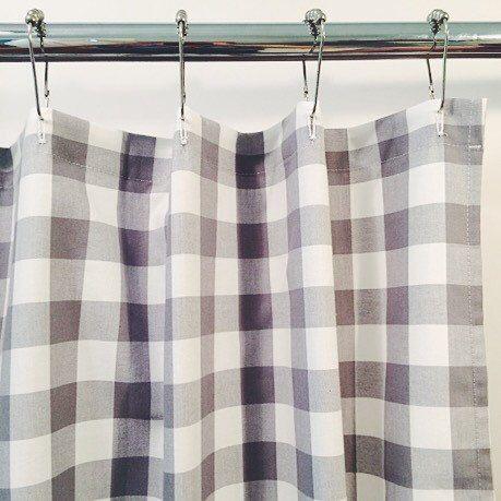 Bathroom decorating ideas shower curtain - Gray Gingham Buffalo Check Shower Curtain 72x72