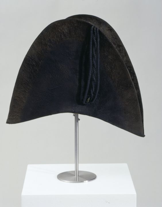 Man's bicorne, fur felt lined with silk with leather sweatband, c. 1800.
