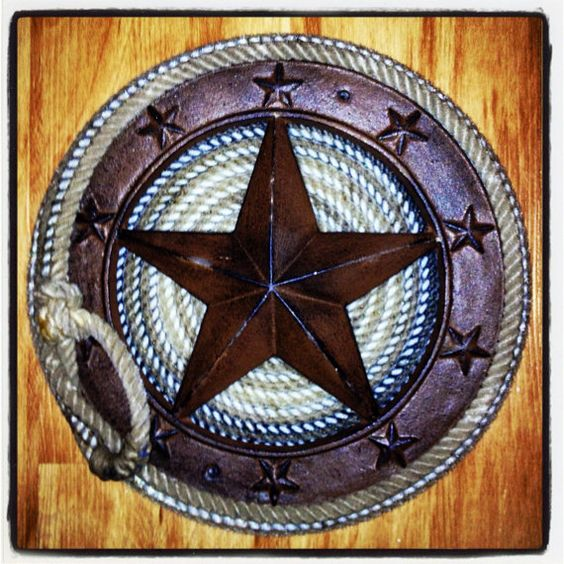 Western Home Decor: Texas Western Metal Star Wrapped With Lariat Cowboy Lasso