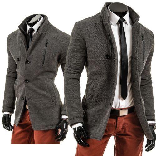 LAID BACK 071 Herrenmantel Grau Herren Hochkragen Mantel Jacke Coat Wintermantel | eBay