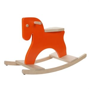 Orange wooden rocking horse. Avete mai visto un cavallo arancione? Dal design molto moderno, lo trovate in vendita tra i cavalli a dondolo alla pagina http://www.giochiecologici.it/p/232/cavallo-a-dondolo-arancione