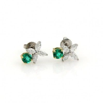 Tiffany & Co. Victoria Platinum 18K Yellow Gold Diamond & Emerald Stud Earrings