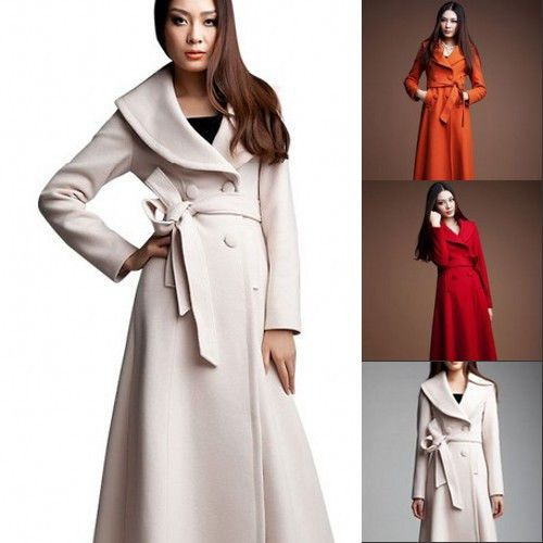 Details about Womens Plus Size Thicken Wool Blend Full Length