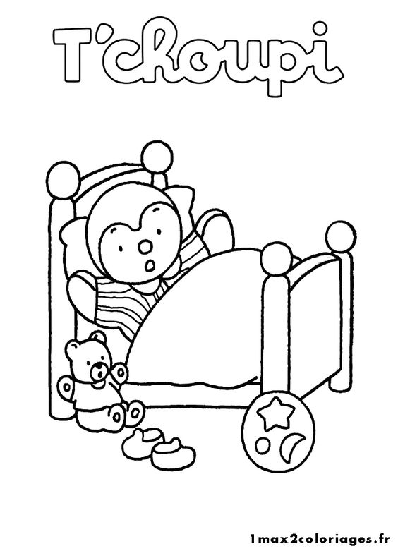 Coloriages t 39 choupi et doudou t 39 choupi dans son lit - Coloriage tchoupi et doudou ...