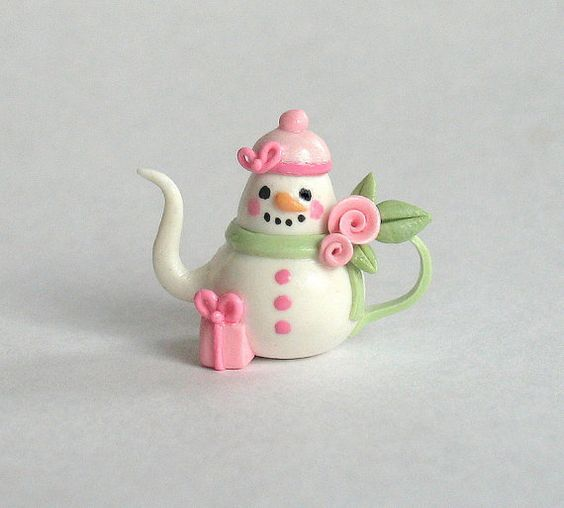:: Crafty :: Clay ::☃ Christmas ☃:: miniature shabby chic rose snowman teapot by artist C. Rohal