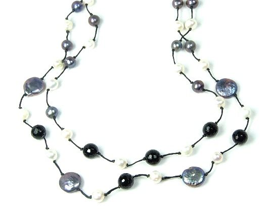 """Beautiful pearl and stone 19"""" necklace that sparkles and delights. Perfectly suited to wear to any special evening event. Hand crafted by survivors at Rahab Ministries, Thailand.  $75"""