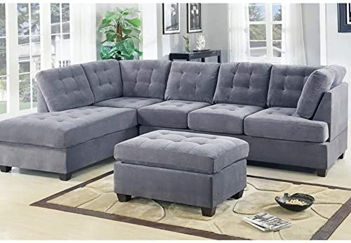 3 Piece Modern Grey Sectional Sofa With Ottoman And Floral Print Pillows Microfiber Fabric L Shap Grey Sofa Living Room Modern Grey Living Room Sectional Sofa