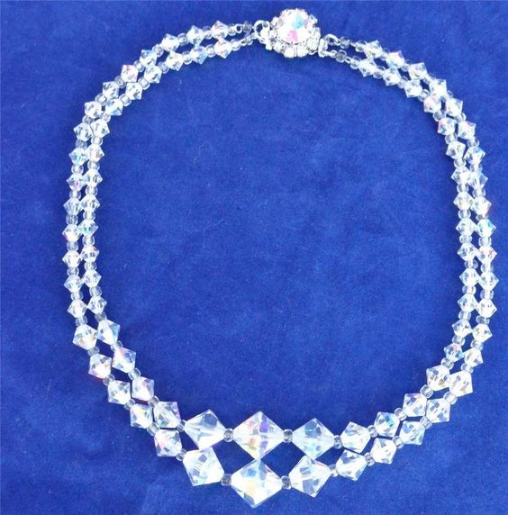 Vintage Art Deco 40s Austrian Crystal Aurora Borealis Two Strand Beads Necklace