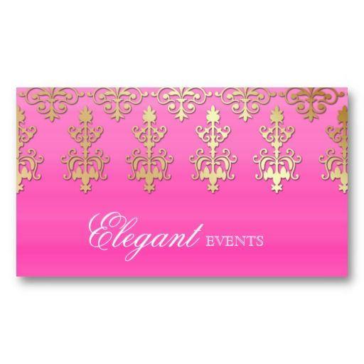 Wedding Event Planner Indian Damask Pink Gold Business Card - event card template