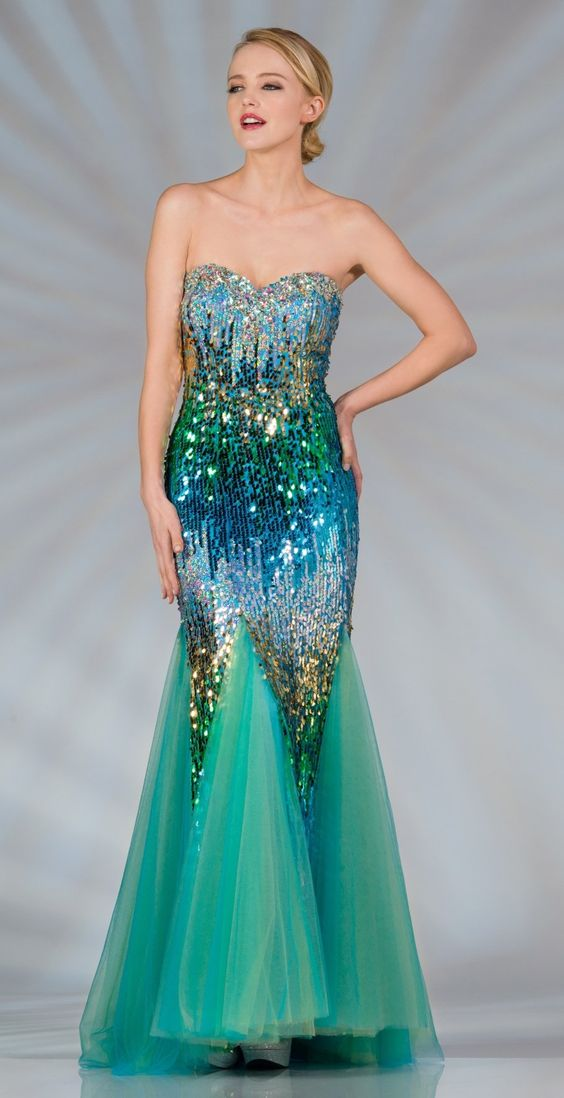 Long Multi Color Turquoise Sequin Dress Strapless Mermaid ...