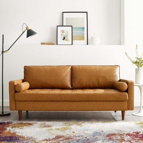 Carmel Color Luxe Modern Faux Leather Accent Sofa In 2020 Faux Leather Sofa Leather Sofa Bed Caramel Leather Sofa