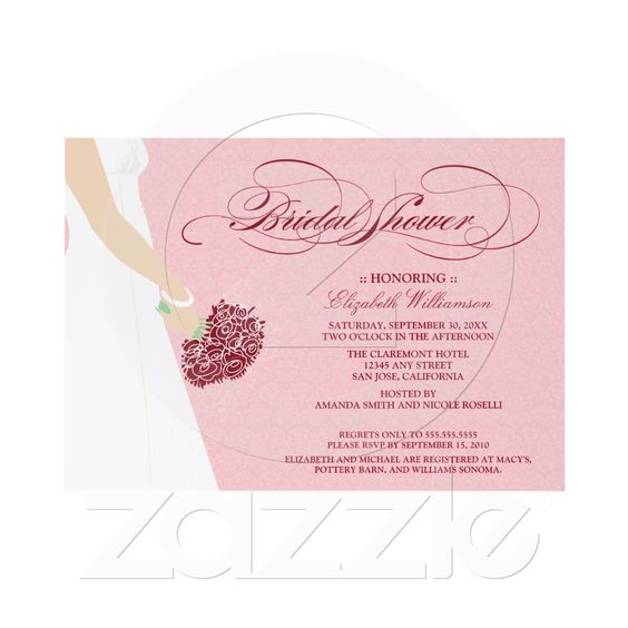 Wedding Dress Bridal Party Invitation (pink) from Zazzle.com  http://www.zazzle.com/wedding_dress_bridal_party_invitation_pink-161089941386225078#?rf=238027039487186211=zBookmarklet